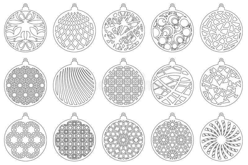 Set Modern Christmas ball. New Year`s Toy for laser cutting. Vector illustration royalty free illustration