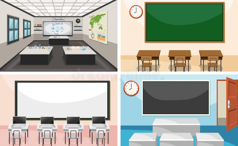 Set of modern classroom stock illustration