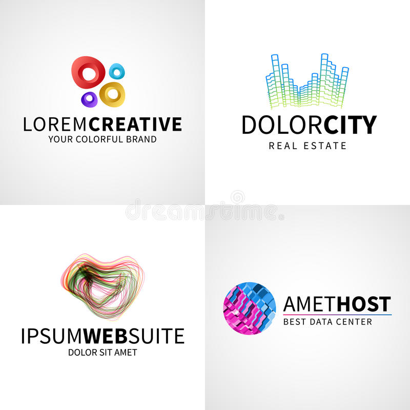 Set of modern colorful abstract creative web host royalty free illustration