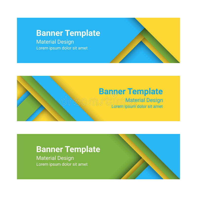 Set of modern colorful horizontal vector banners in a material design style. royalty free illustration