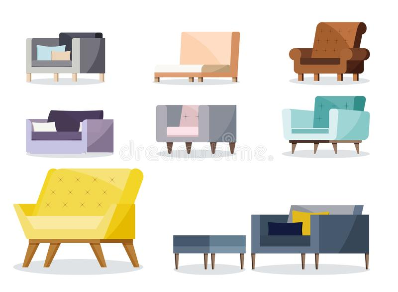 Set of modern colorful soft armchair with upholstery royalty free illustration