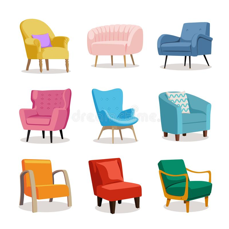 Set of modern colorful soft armchair with upholstery. Armchairs for room design games. Cushioned furniture, room decoration, interior design isolated on white royalty free illustration