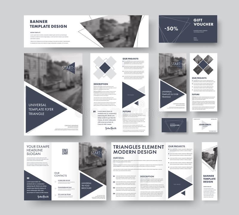 Set of modern corporate style with triangular design elements, l vector illustration