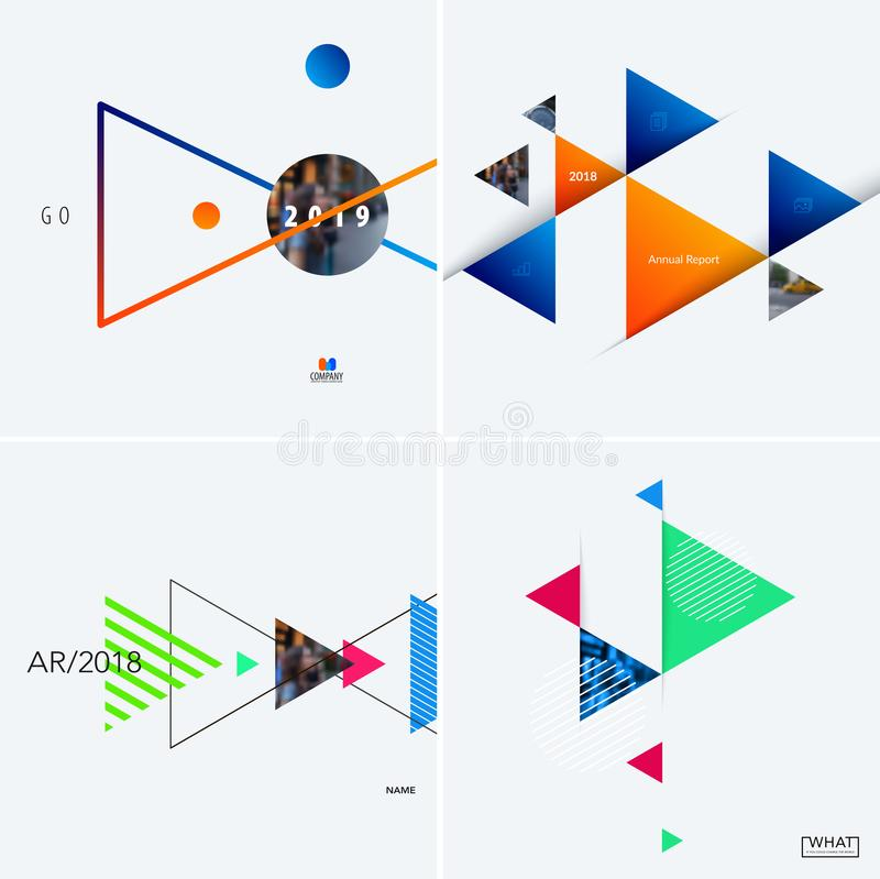Download Set Of Modern Design Abstract Templates. Creative Business Background With Colourful Triangles For Promotion, Banner Stock Vector - Illustration of clearance, business: 116256938