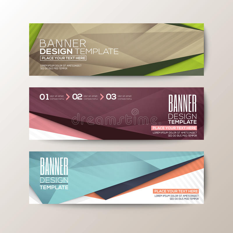 Set of modern design banners template with abstract triangle polygon elements vector illustration