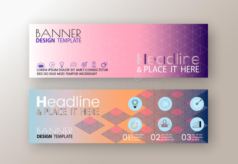 Set of modern design web banners template with abstract line triangle background stock illustration