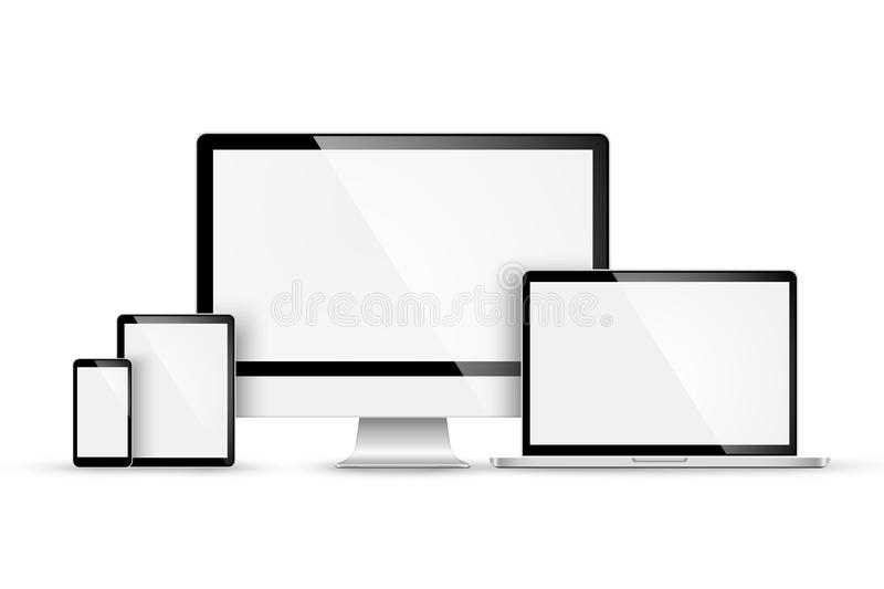Set of modern devices. Vector stock illustration