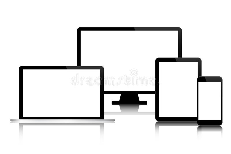 Set of modern digital tech devices with blank screen isolated on. White background, business concept for your infographic, computer, smartphone, tablet, laptop stock illustration