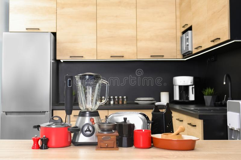 Set with modern domestic appliances. In kitchen royalty free stock image