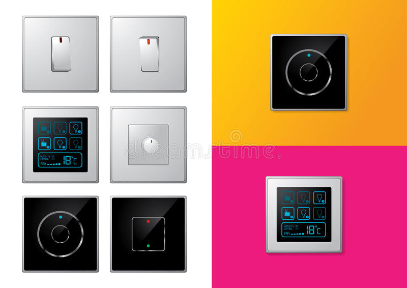 Download Set Of Modern Electrical Switches Stock Vector