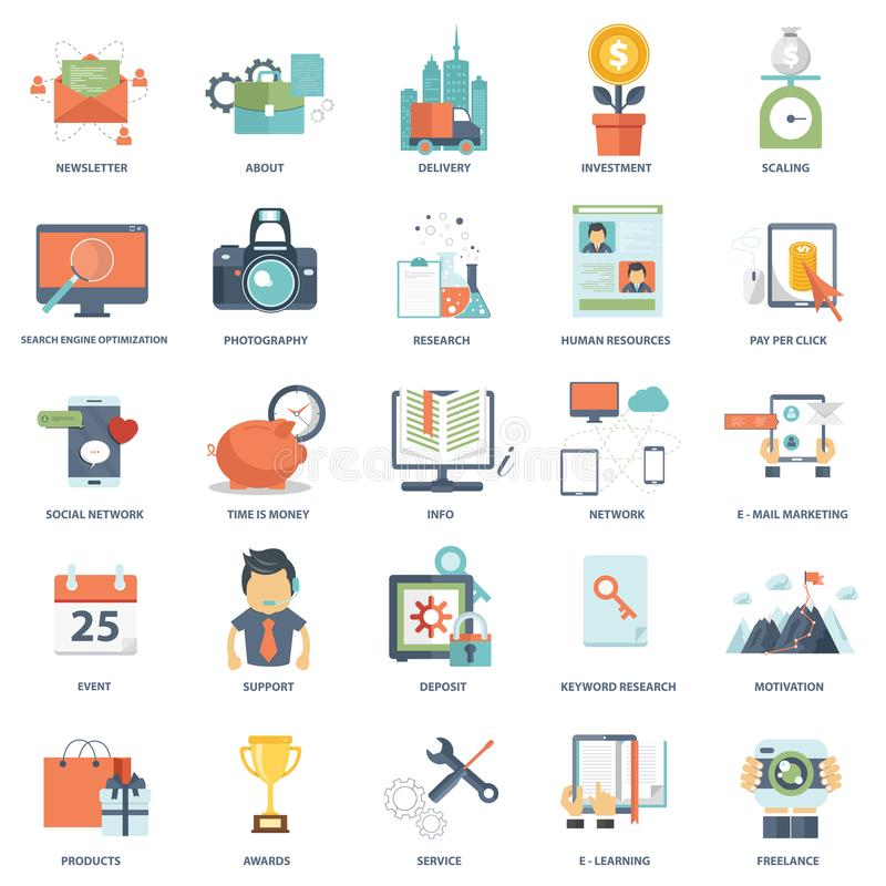 Set of modern flat design business vector info graphics icons stock illustration