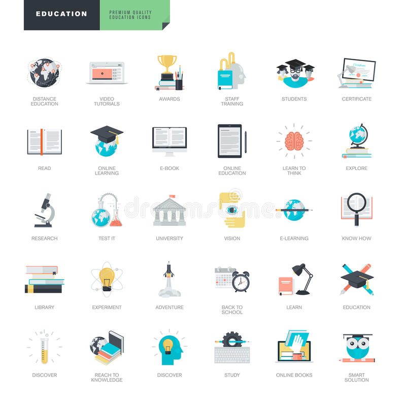 Set of modern flat design education icons for graphic and web designers stock illustration