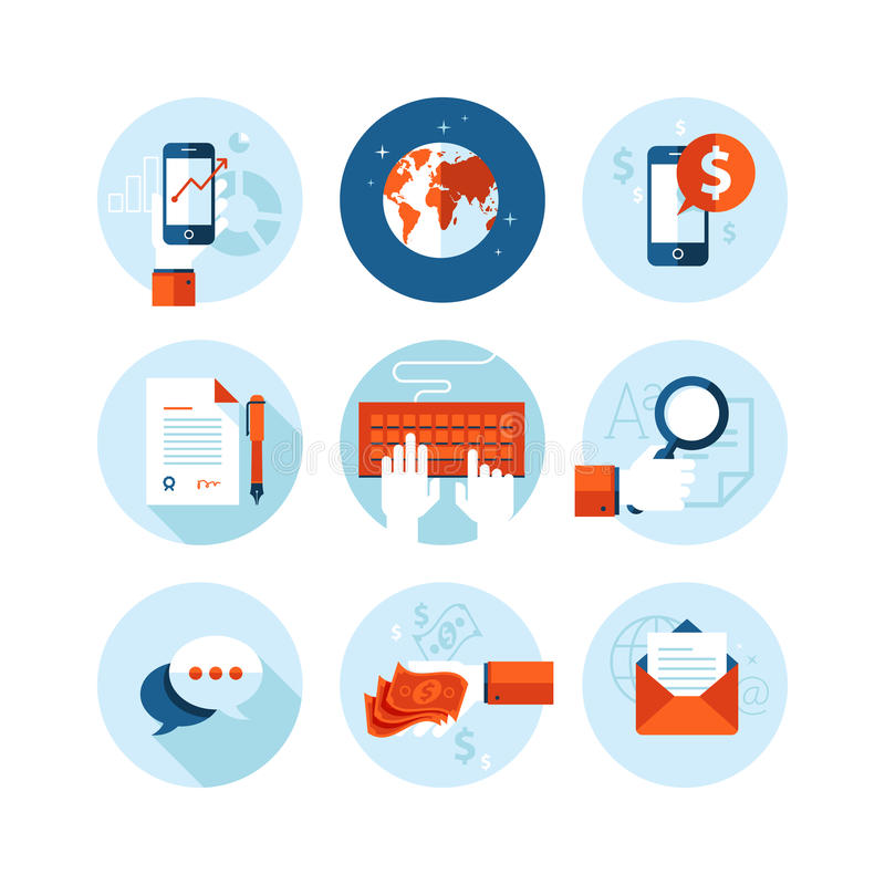 Set of modern flat design icons on business. And finance theme. Icons for mobile phone business app, e-commerce, contract, internet marketing, market research stock illustration