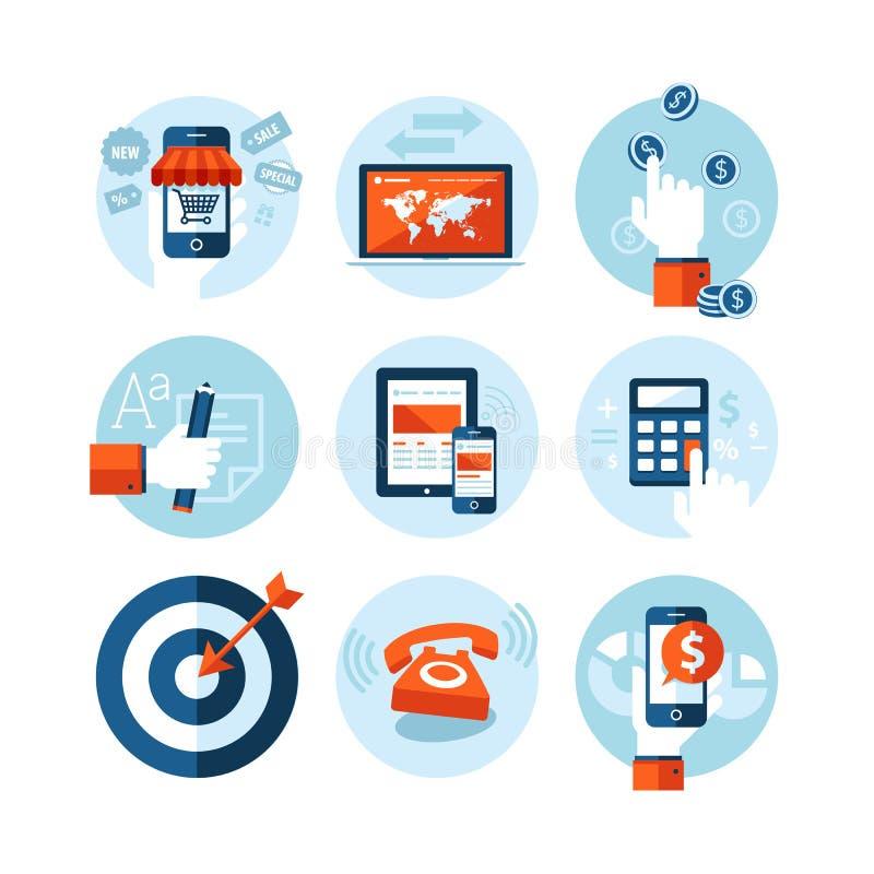 Set of modern flat design icons on e-commerce them stock illustration