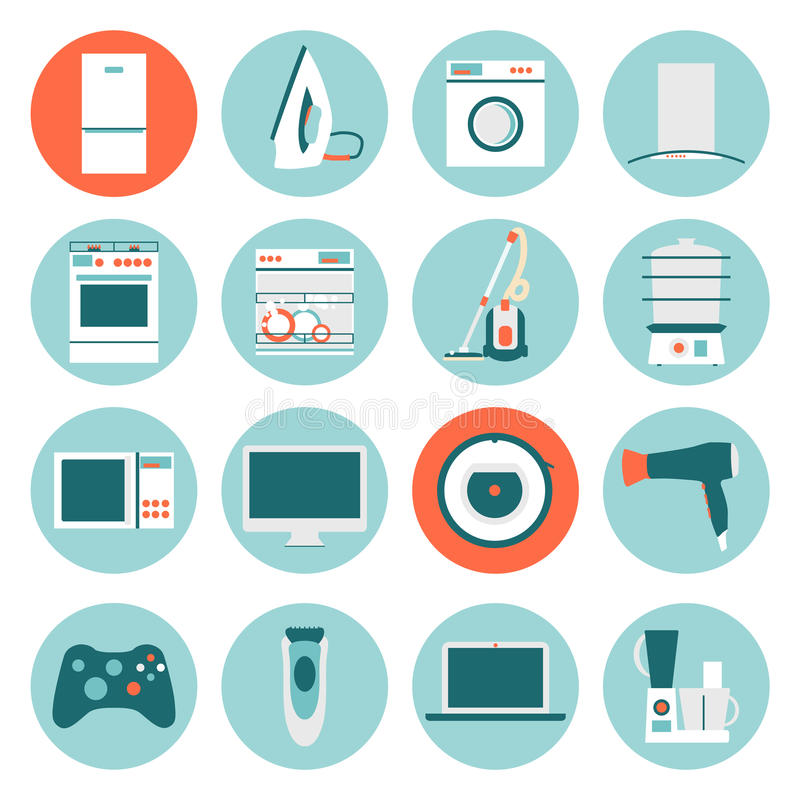download set modern flat design icons of home appliances stock vector illustration of cleaner
