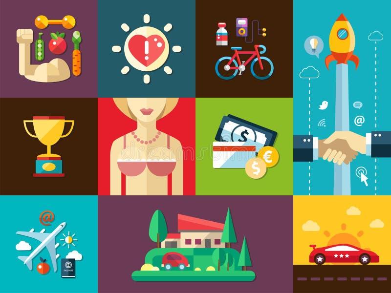 Set of modern flat design men's good things icons vector illustration