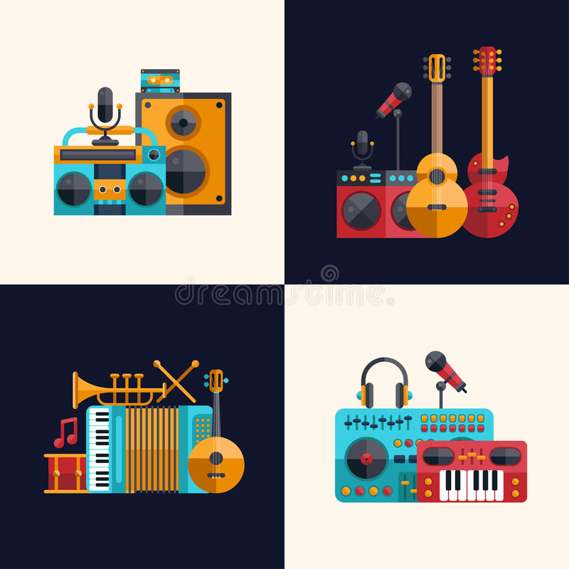 Modern Musical Instruments: Set Of Modern Flat Design Musical Instruments And Stock