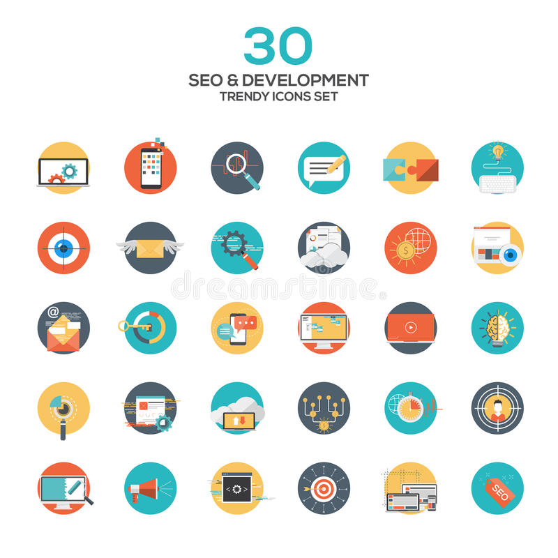 Set of modern flat design SEO and development icons. Creative concepts and design elements for mobile and web applications. Vector stock illustration