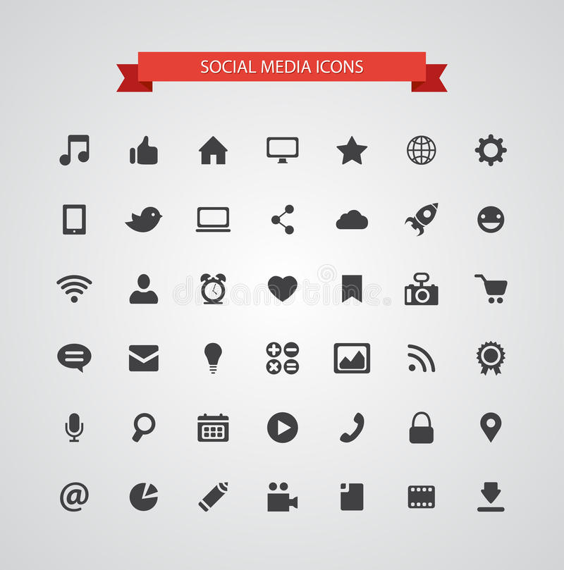 Set Of Modern Flat Design Social Media Icons Stock Vector Illustration Of Internet Silhouette 44356581