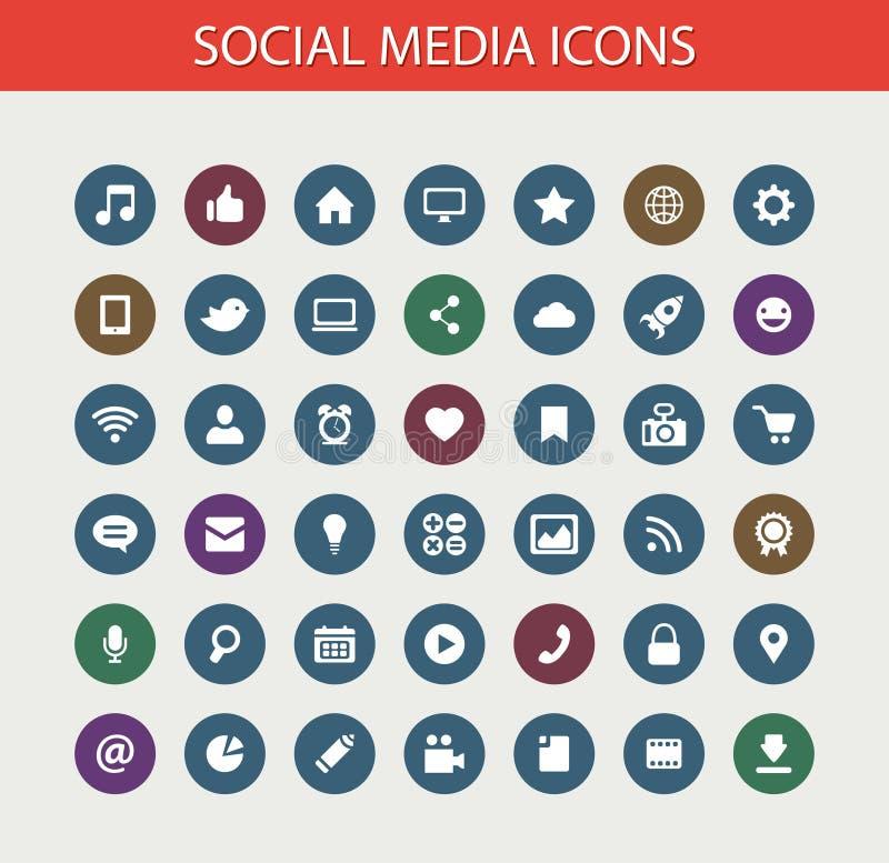 Set of modern flat design social media icons stock illustration