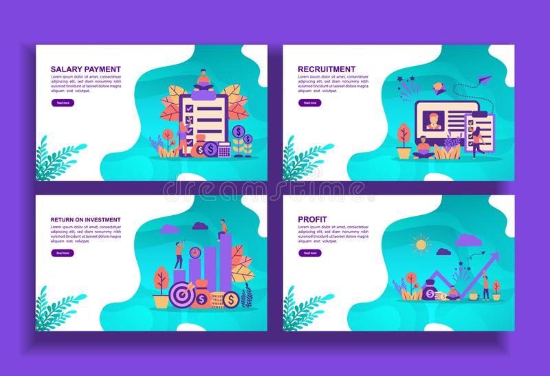 Set of modern flat design templates for Business, salary payment, recruitment, return on investment, profit. Easy to edit and. Customize. Modern Vector stock illustration
