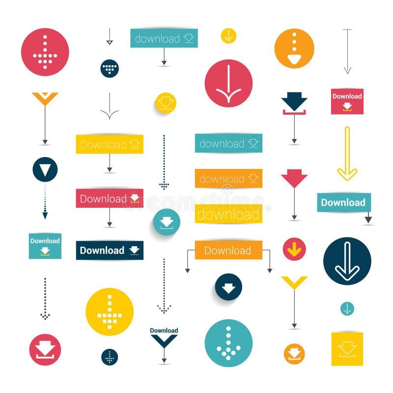 Set modern flat download buttons. vector illustration