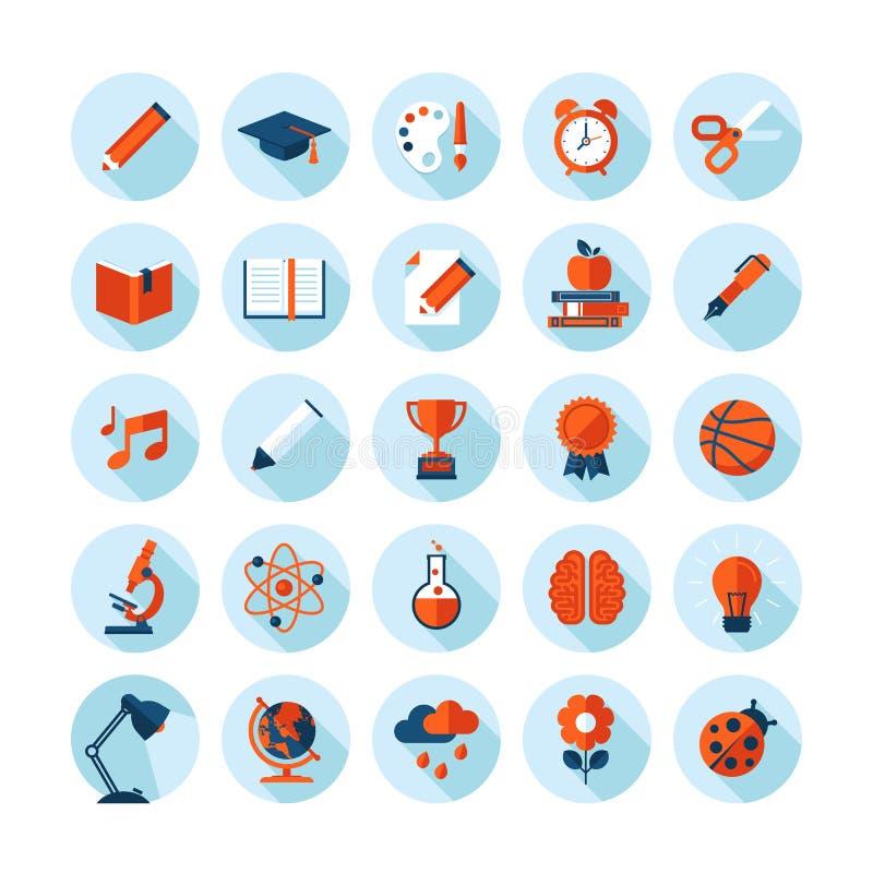 Set of modern flat icons on education theme stock illustration