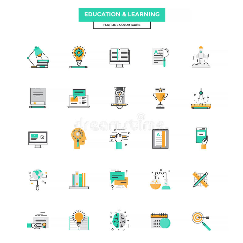 Set of Modern Flat Line icon. Concept of Education, Leaning, Online Education, Video Tutorial, E-Learning and Thinking use in Web Project. Vector Illustration vector illustration