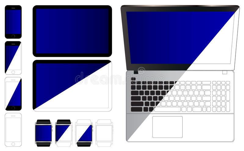 Set of modern gadgets. vector illustration