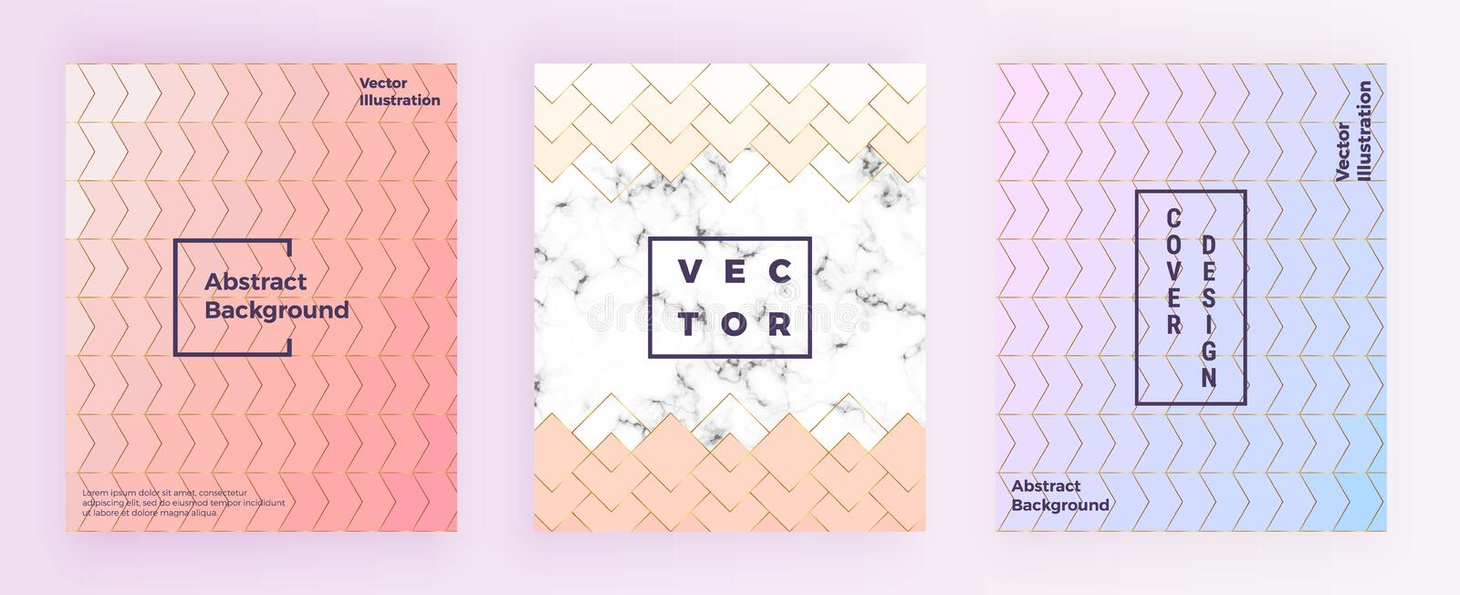 Set modern geometric designs with gold lines, pastel pink colors and marble texture background. Template for invitation, card, des stock photo