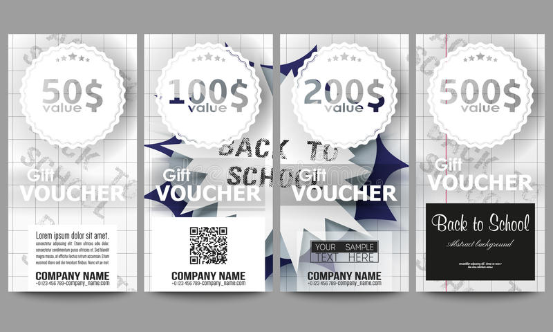 Set of modern gift voucher templates. Back to school background with letters made from halftone dots, cartoon explosion stock illustration