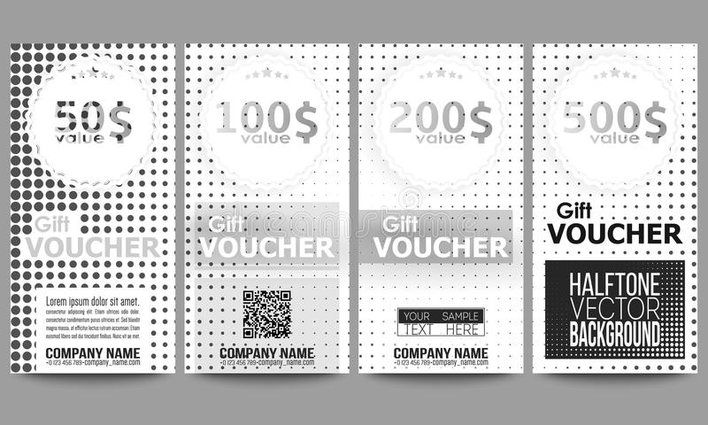 Set Of Modern Gift Voucher Templates. Halftone Stock Vector ...