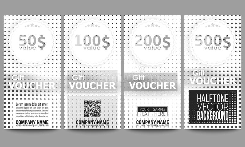 Set Of Modern Gift Voucher Templates. Halftone Vector Background ...