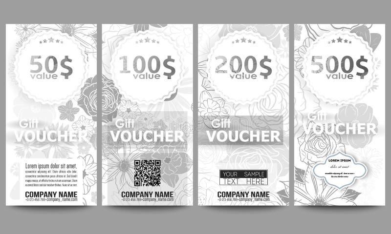 Set Of Modern Gift Voucher Templates. Hand Drawn Floral Doodle ...