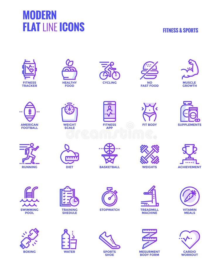 Flat line gradient icons design-Fitness and Sports. Set of Modern Gradient flat line Fitness and Sports icons suitable for mobile concepts, web application vector illustration