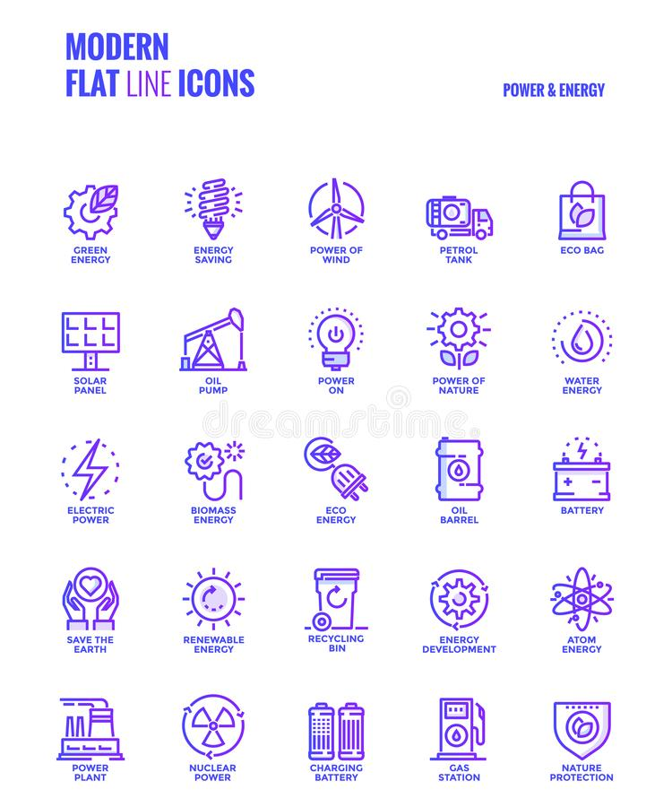 Flat line Gradient icons design-Power and Energy vector illustration