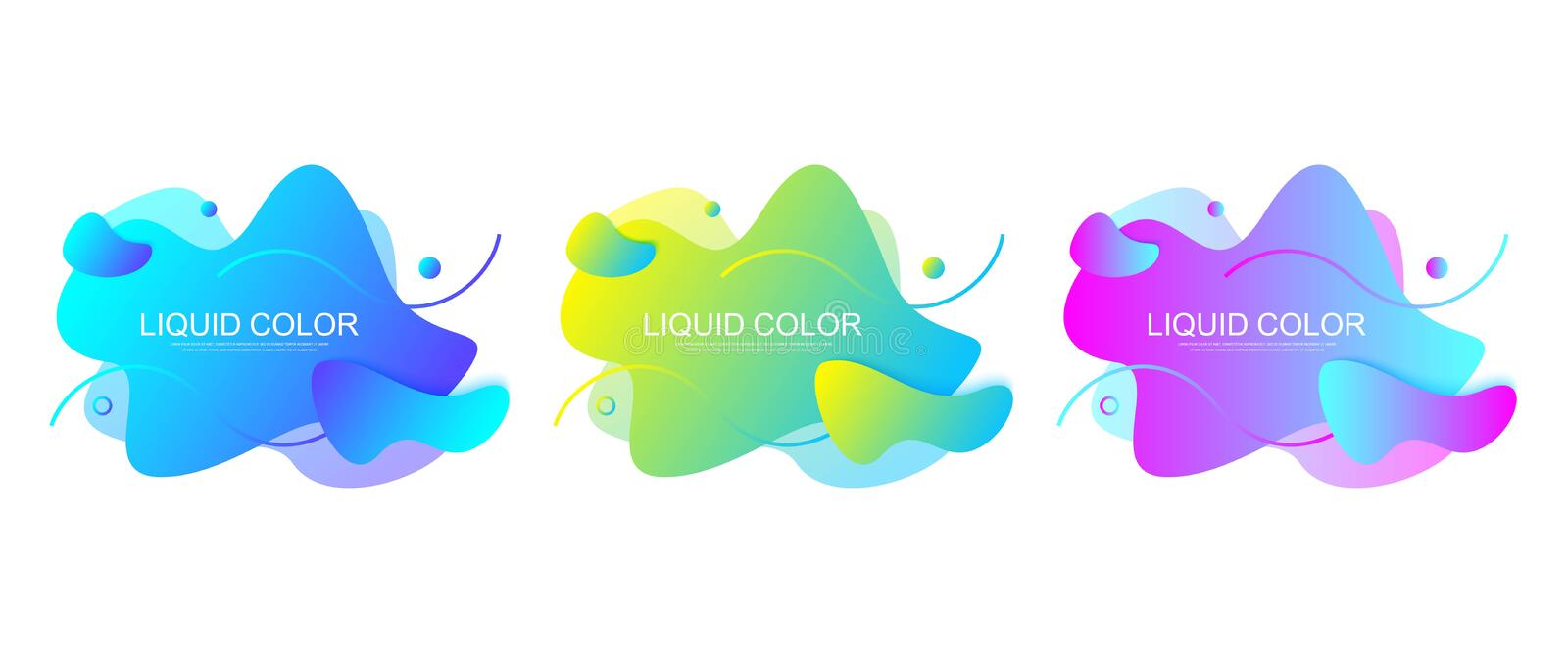 Set of modern graphic design elements in shape of fluid blobs with geometric lines. Gradient blue and green, red and. Violet geometrical shapes. Liquid stain stock illustration