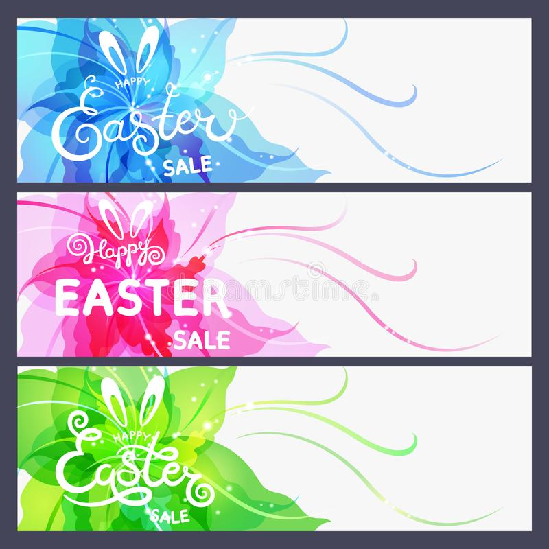 Set of modern Happy Easter cards. Hand drawn Happy Easter sale lettering on abstract flower background. stock illustration