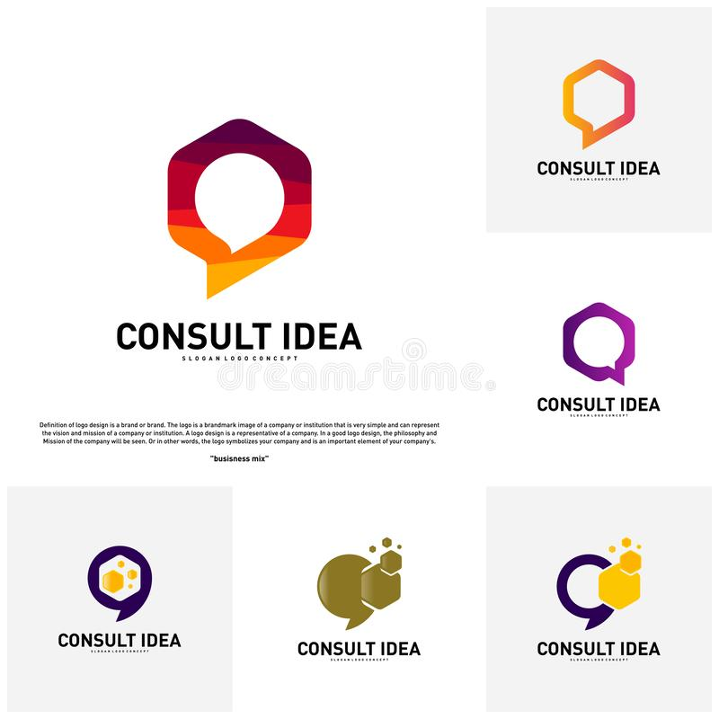 Set of Modern Hexagon Business Consulting Agency logo template. Simple Digital Chat logo Concept.  royalty free illustration