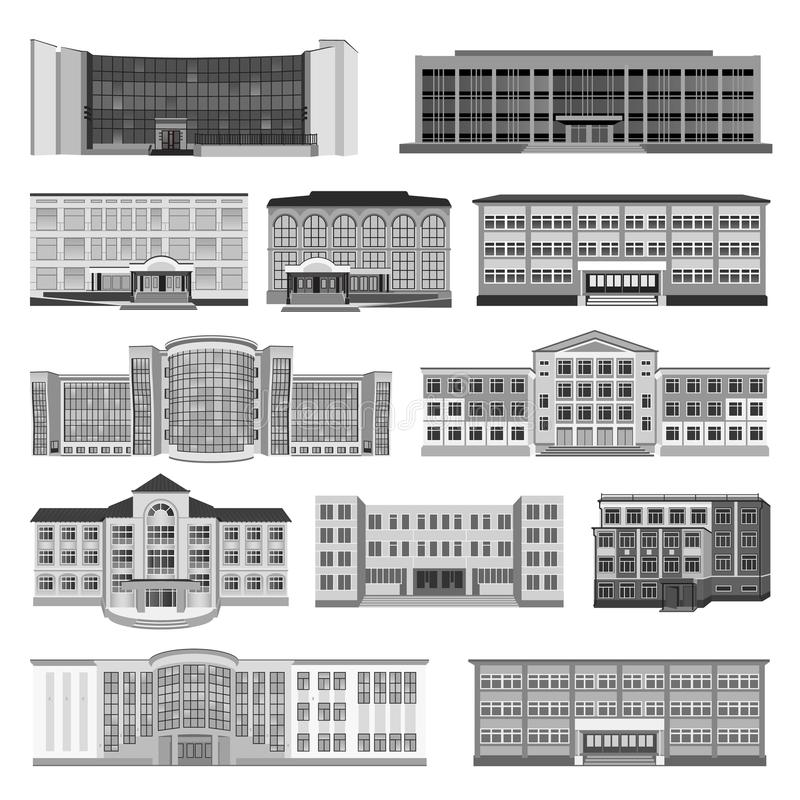 Set with modern houses, cottage and building flat. Vector stock photography