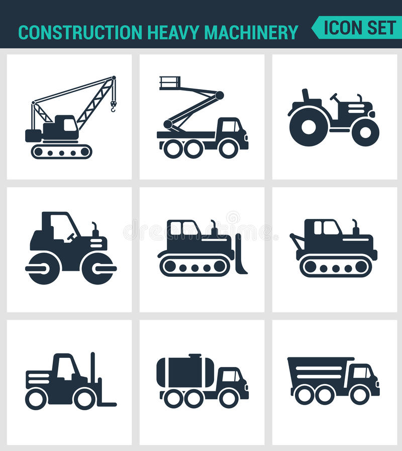 Set of modern icons. Construction heavy machinery tractor, lift, crane, roller, bulldozer, dump truck, barrel. Black signs. On a white background. Design vector illustration