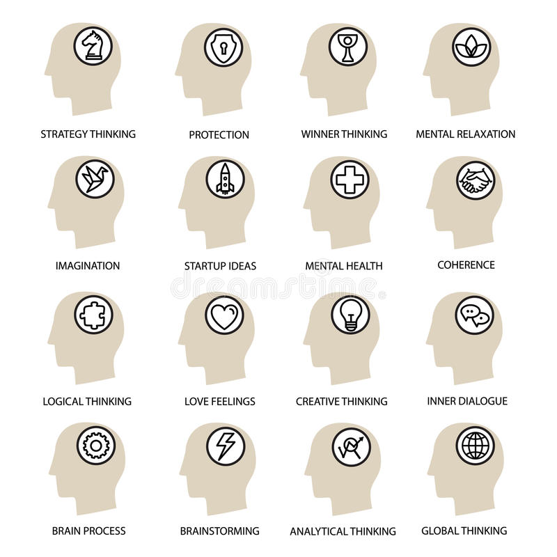 Set modern icons in flat linear style the human process of mind and emotions. stock illustration