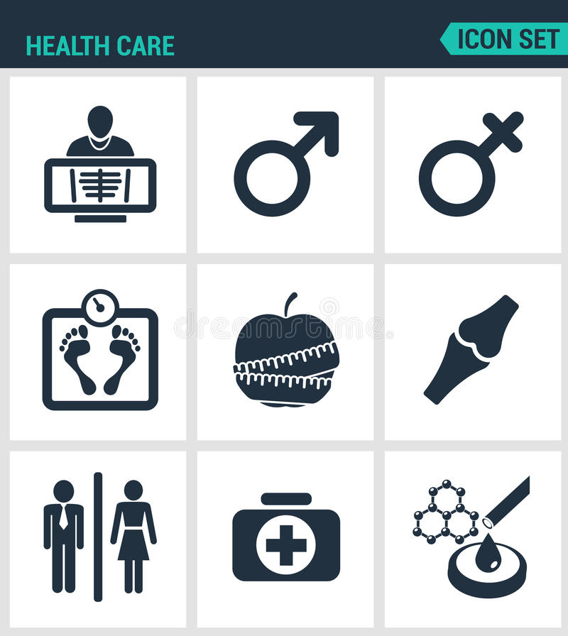 Set of modern icons. Health Care rengen woman, Man, weight, apple, joints, first aid kit, laboratory. Black signs. On a white background. Design isolated stock illustration