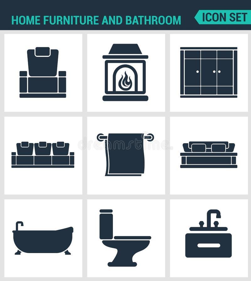 Set of modern icons. Home furniture and bathroom armchair, fireplace, wardrobe, sofa, towel, bath, toilet, washbasin Black vector illustration