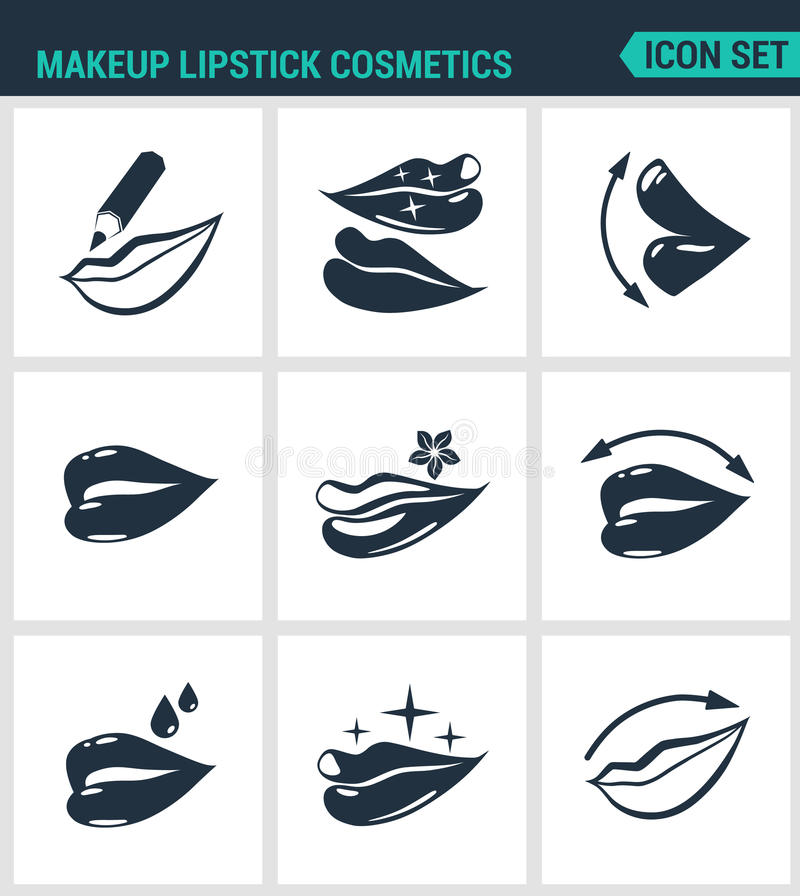 Set of modern icons. Makeup lipstick cosmetics lips, Lip pencil, lipstick, gloss, protection. Black signs. On a white background. Design isolated symbols and vector illustration