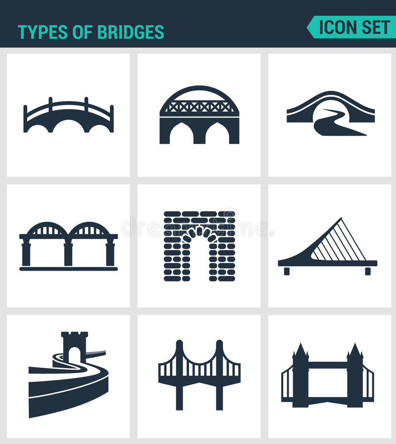 Set of modern icons. Types of bridges architecture, construction. Black signs on a white background. Design isolated symbol. S and silhouettes royalty free illustration