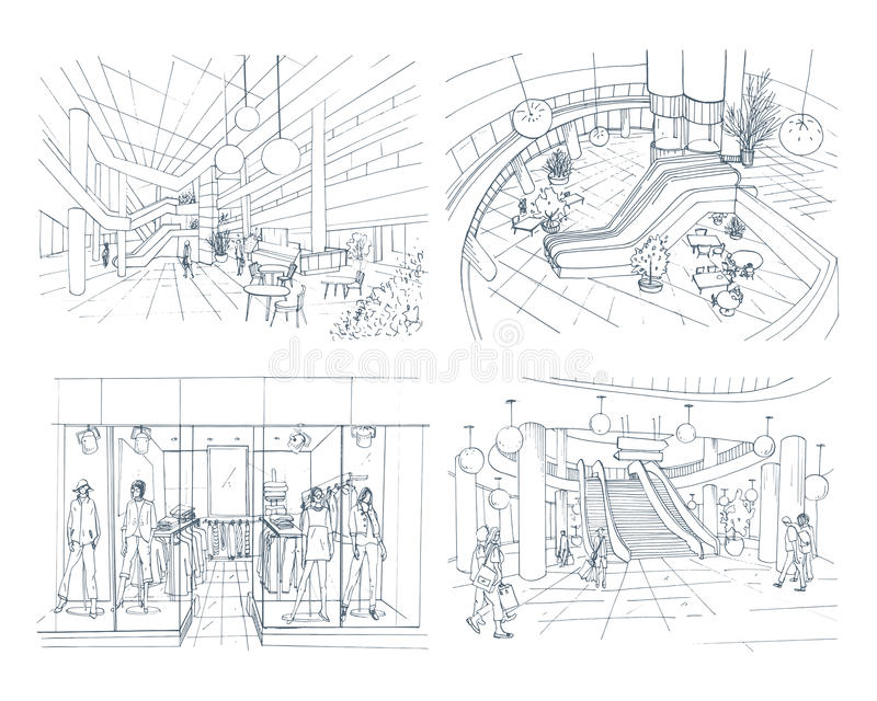 Set of modern interior shopping center. Collection various space mall. Contour sketch illustration. stock illustration