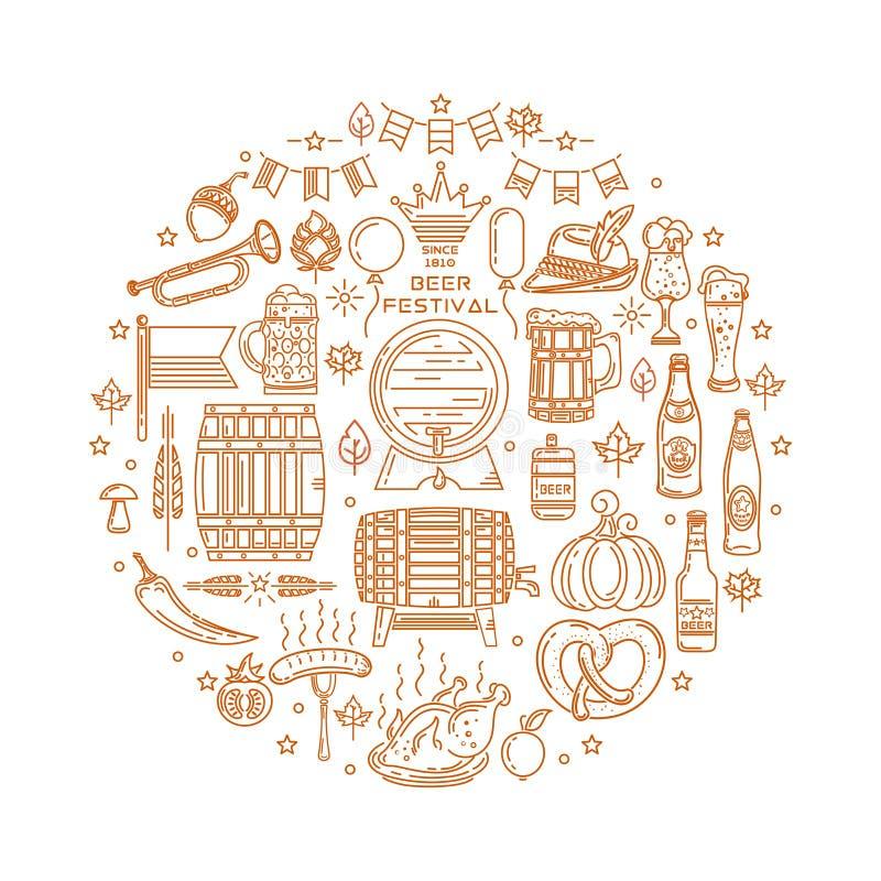 Set modern line icons set for Oktoberfest stock illustration