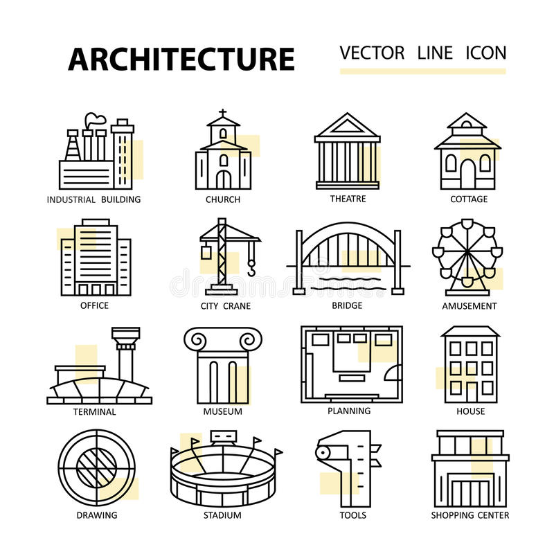 Set Of Modern Linear Icons With Architecture Elements. Stock Vector ...