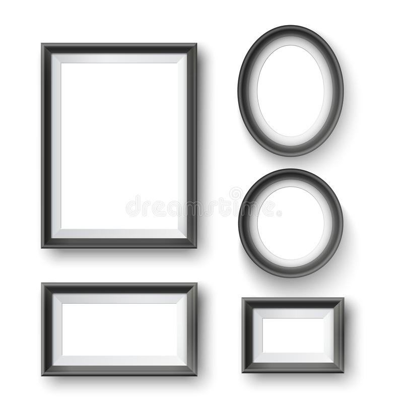 Set of modern minimalist black blank picture frame with transparent place for photo on gray wall stock illustration